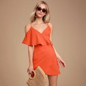 Lulu's MIA Rae Orange Ruffle Wrap Mini Dress